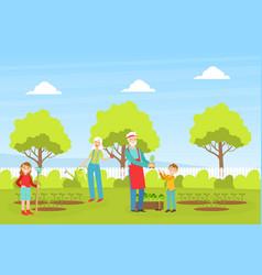 grandparents and children working in garden vector image
