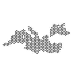 Grey hexagon mediterranean sea map vector