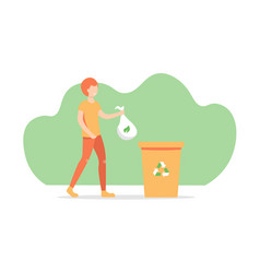 Guy throws out trash vector