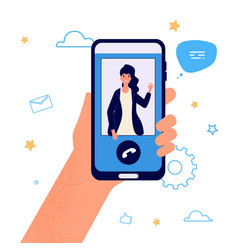Hand hold phone video call vector