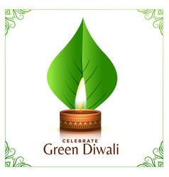 Happy organic diwali concept leaves background vector
