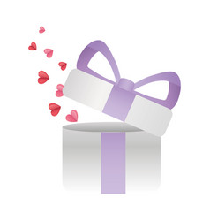 happy valentines day flying hearts gift box vector image