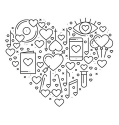 heart with love symbols in line style love couple vector image