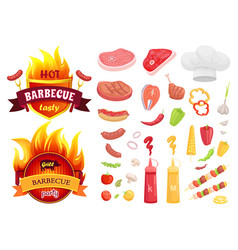 Hot bbq barbecue icons set vector