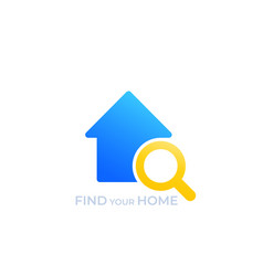 house search logo find your home vector image