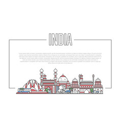 India landmark panorama in linear style vector