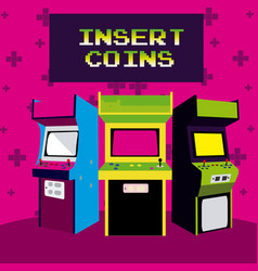 Insert coins to play arcade vector