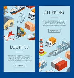 isometric marine logistics and seaport web vector image