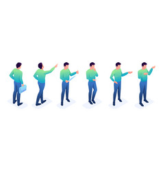 Isometric set young men a bright sweater vector