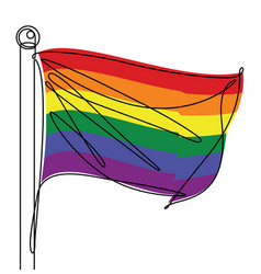 lbgtq pride flag one continuous line abstract icon vector image