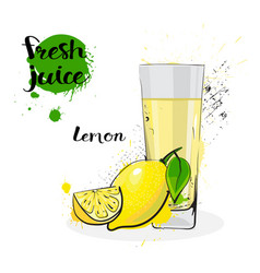 lemon juice fresh hand drawn watercolor fruits and vector image