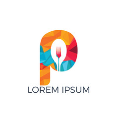 letter p food logo template vector image