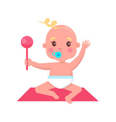 Little bawith pacifier and rattle sits on rug vector