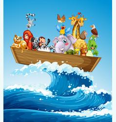 Many animals on boat at sea vector