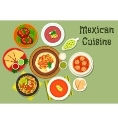 Mexican cuisine restaurant dinner icon vector