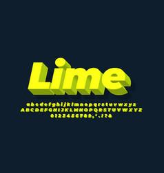 Modern alphabet 3d lime text effect or font vector