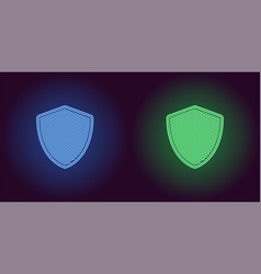 Neon icon of blue and green network shield vector