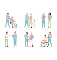 nurse cares patient family doctors with people vector image