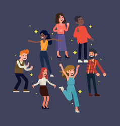 people on a dance floor vector image