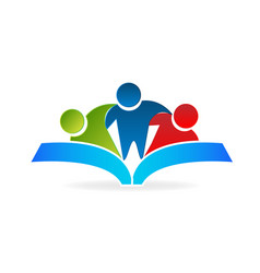 people reading a book icon vector image