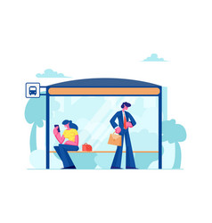 people stand on bus station woman sitting on vector image