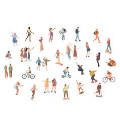 people summer outdoors activities walking vector image