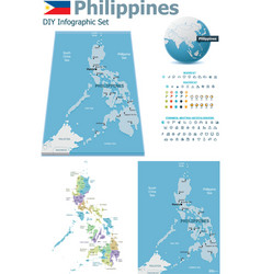 Philippines maps with markers vector