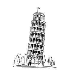 Piza Tower travel concept vector