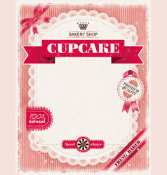 Poster of confectionery bakery with lacy frame vector