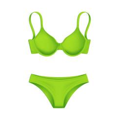 Realistic green bra panties template mockup vector