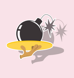 Realistic paper sticker on theme humor bomb vector