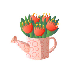 red flowers in watering pot with cute design vector image