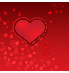 Red hearts Valentines day card on pink background vector