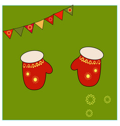 Red mittens with floral yellow ornament elements vector