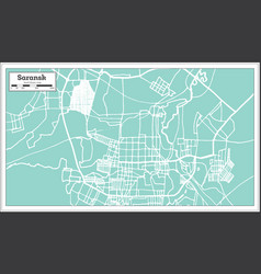 Saransk russia city map in retro style outline map vector