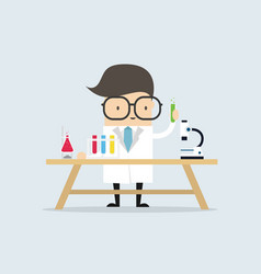 scientist at the table conducting an experiment vector image