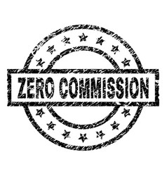 Scratched textured zero commission stamp seal vector