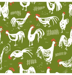 Seamless pattern with roosters Ink drawing vector image