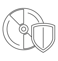 secured cd disk icon outline style vector image