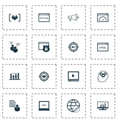 seo icons set with display advertising page speed vector image