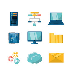 set flat icon data center information vector image