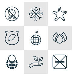 set of 9 ecology icons includes world ecology vector image