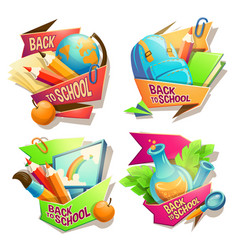 set of cartoon badges vector image