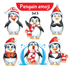 set of christmas penguin characters set 5 vector image
