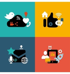 Set of modern flat design social media vector image