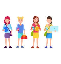 set student teenage girls cartoon style books vector image