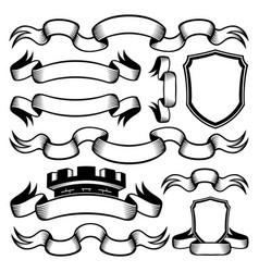 Set vintage ribbons vector