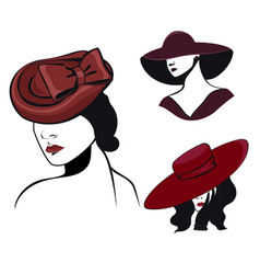 set women in hats in black and red colors vector image