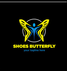 Shoes butterfly logo designs vector