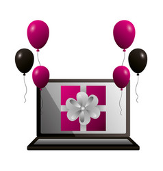 shopping online gift and balloons vector image